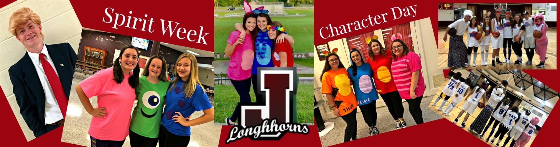 A collage of pictures containing students from Character Day