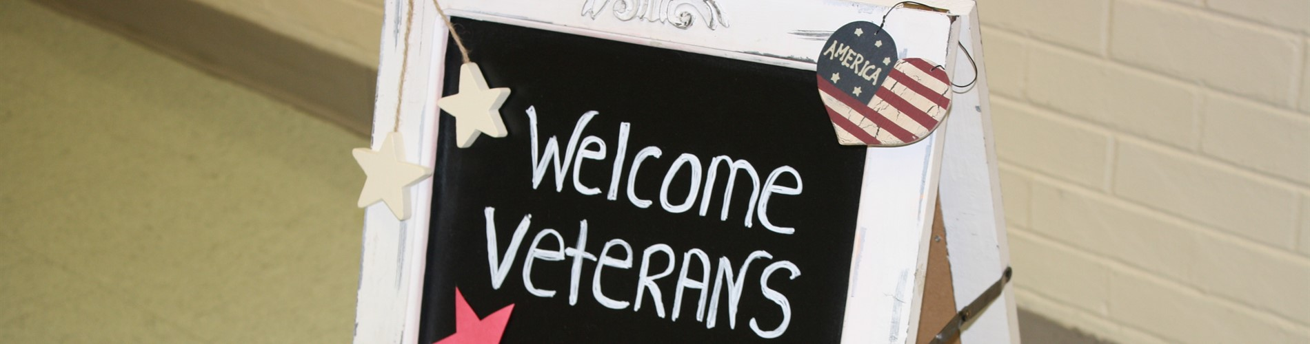 Sign that says Welcome Veterans